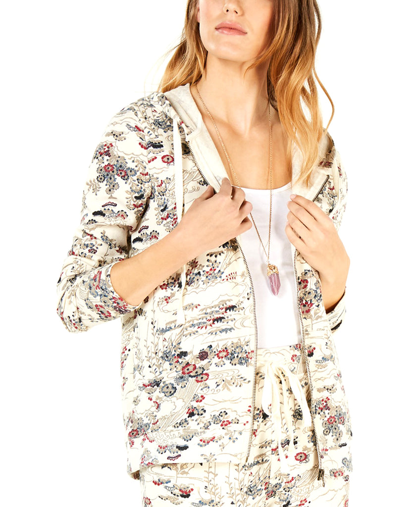 Yieldings Discount Clothing Store's Printed Zip-up Hoodie by Lucky Brand in Natural Multi