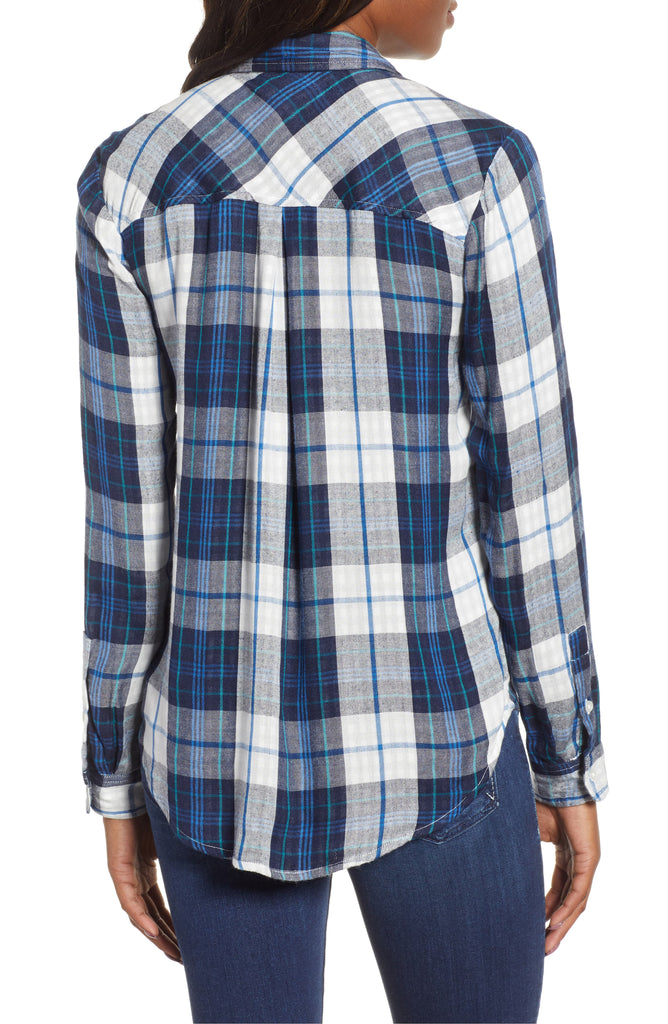 Yieldings Discount Clothing Store's Pleat-Back Plaid Top by Lucky Brand in Blue