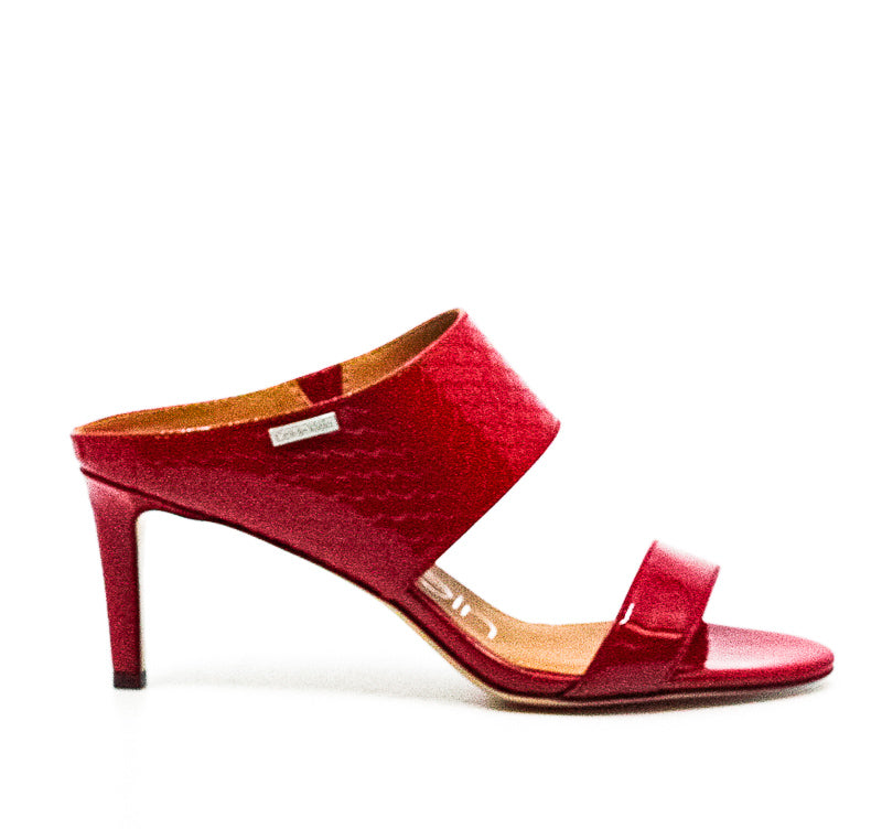 Yieldings Discount Shoes Store's Cecily Patent/Python Patent Heel Sandals by Calvin Klein in Crimson Red