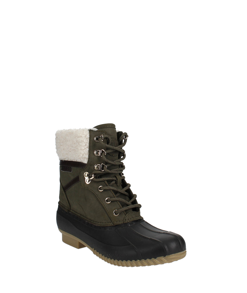 Yieldings Discount Shoes Store's Rian Lace-Up Winter Boots by Tommy Hilfiger in Dark Green