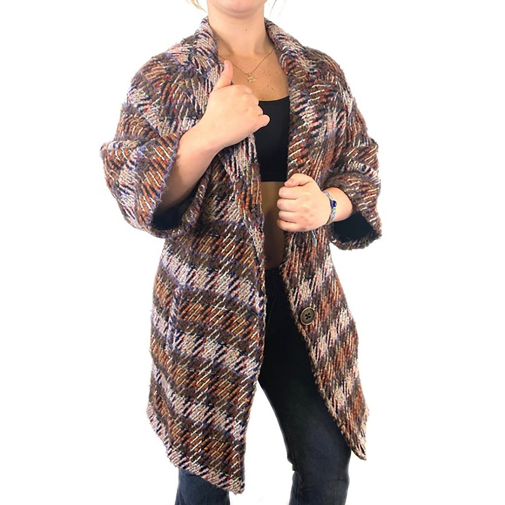 Yieldings Discount Clothing Store's Plaid 1 Jacket by Chepè in Light Brown