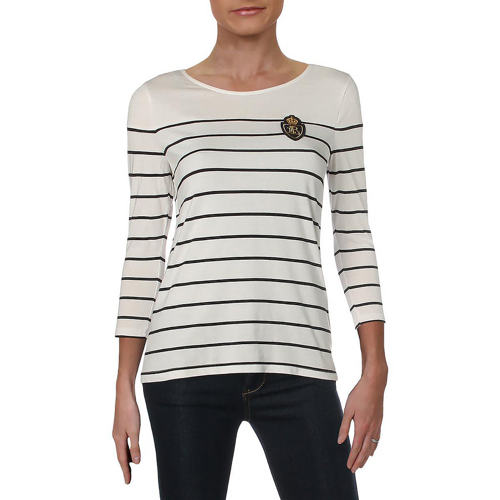 Yieldings Discount Clothing Store's 3/4 Sleeves Striped T-Shirt by Lauren by Ralph Lauren in White