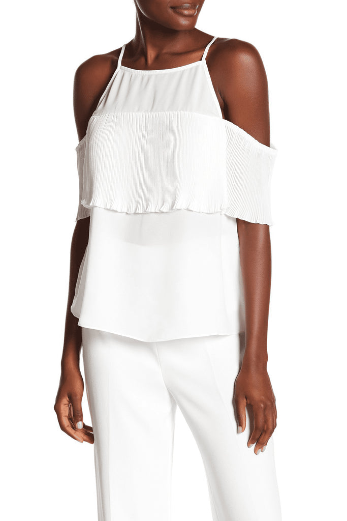 Yieldings Discount Clothing Store's March Pleated Cold Shoulder Tank Top by RACHEL Rachel Roy in Eggshell