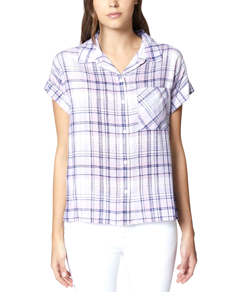 Yieldings Discount Clothing Store's Plaid Short-Sleeve Boyfriend Shirt by Sanctuary in Orchid Purple Plaid