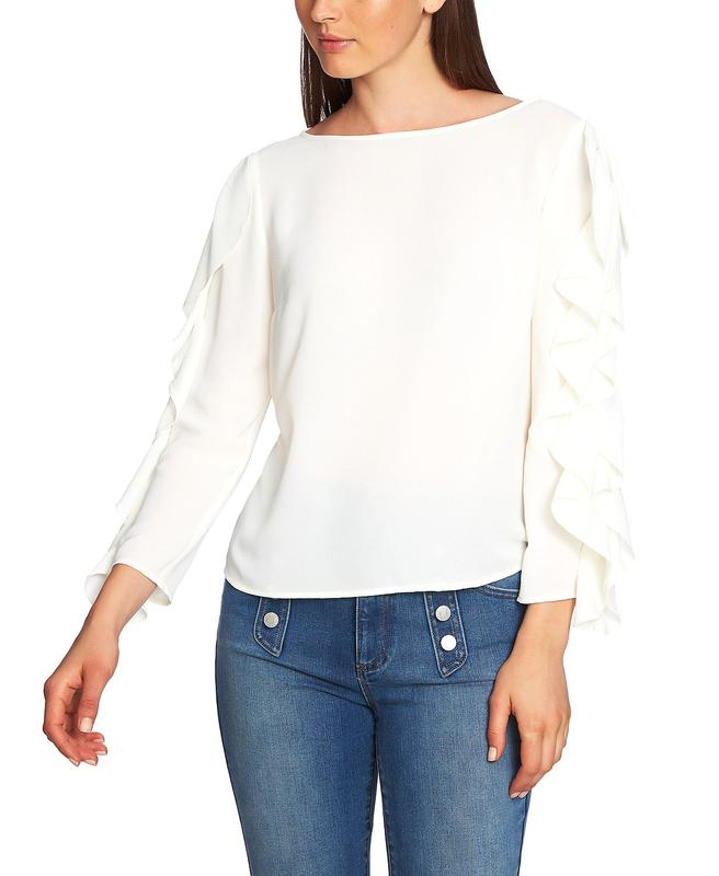 Yieldings Discount Clothing Store's Ruffle-Sleeve Top by 1.State in Soft Ecru