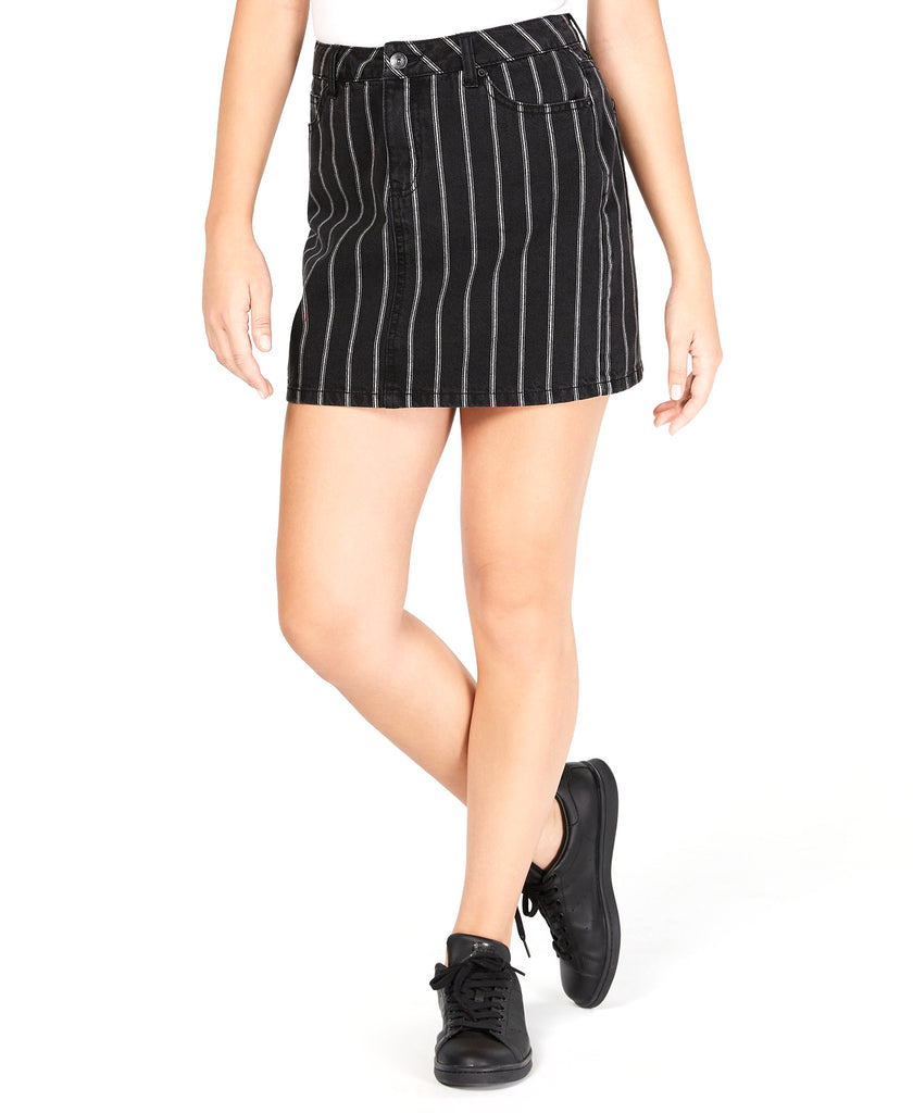 Yieldings Discount Clothing Store's Cotton Striped Mini Skirt by Vanilla Star in Black/White Stripe