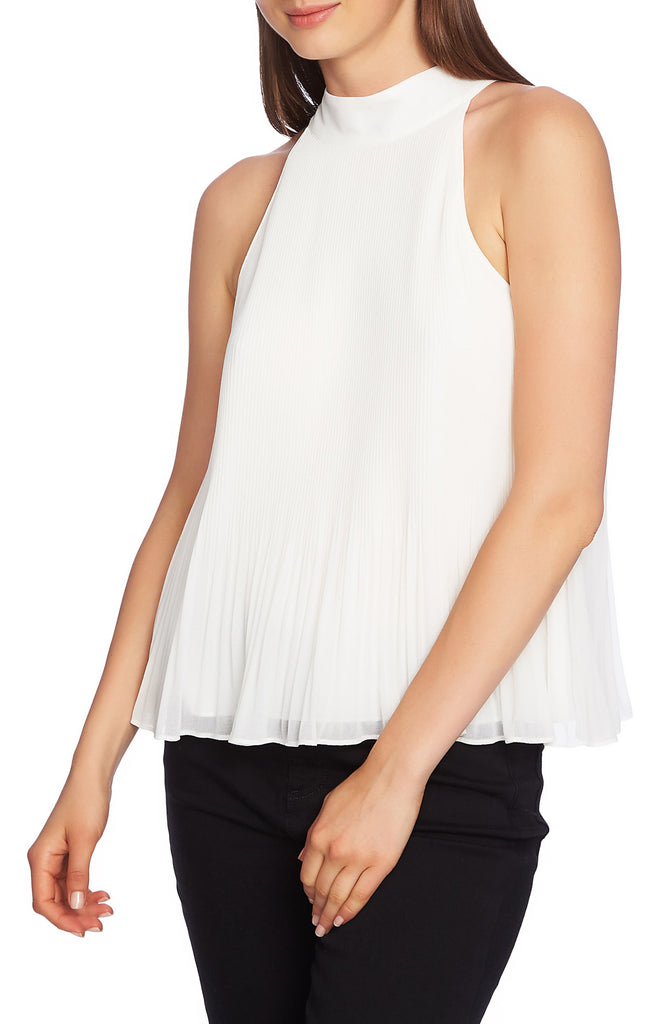 Yieldings Discount Clothing Store's Halter-Tie Pleated Top by 1.State in Soft Ecru