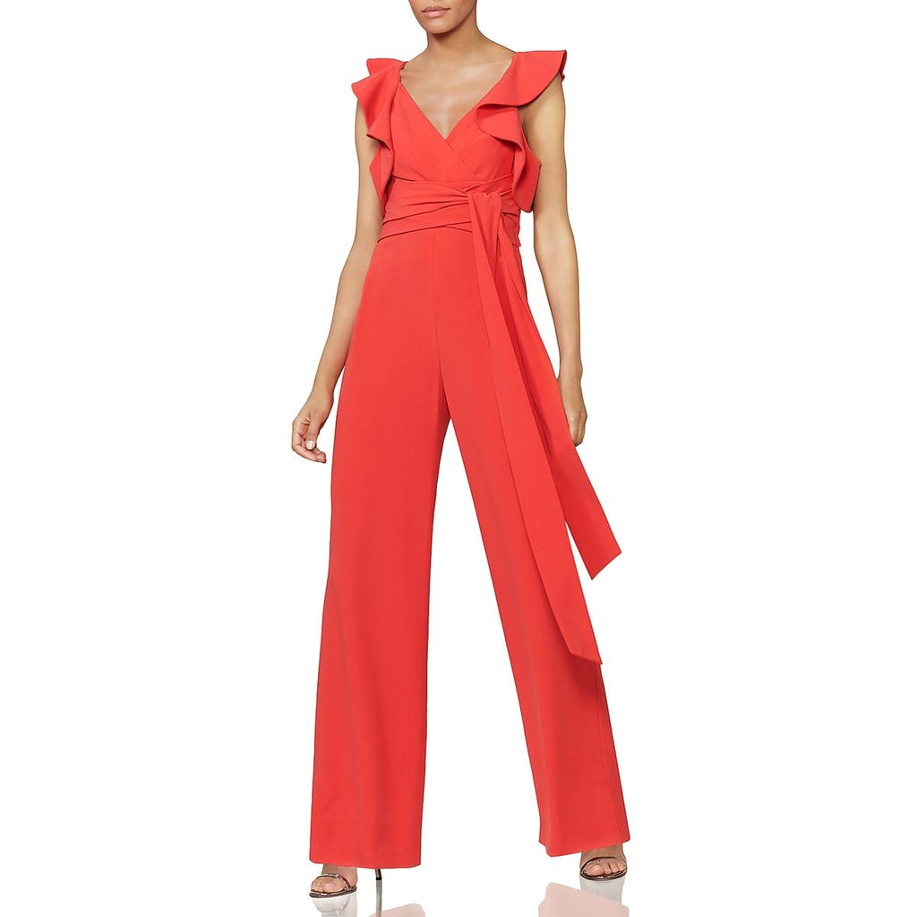 Yieldings Discount Clothing Store's Flounce-Sleeve Jumpsuit by Halston Heritage in Pose Red
