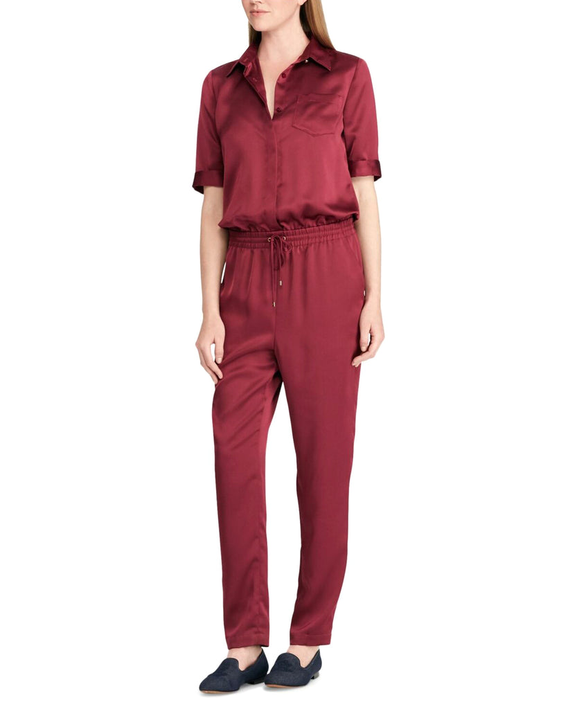 Yieldings Discount Clothing Store's Varis Satin Short Sleeves Jumpsuit by Lauren by Ralph Lauren in Rich Cranberry