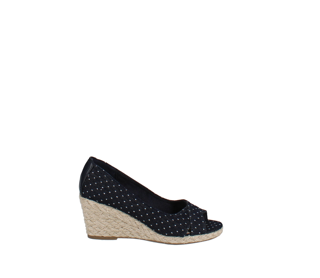 Yieldings Discount Shoes Store's Toniie Wedge Sandals by Charter Club in Denim Dot