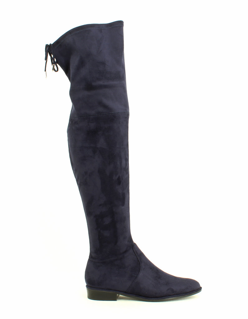Yieldings Discount Shoes Store's Humor 2 Faux Suede Flat Over the Knee Riding Boots by Marc Fisher in Dark Blue