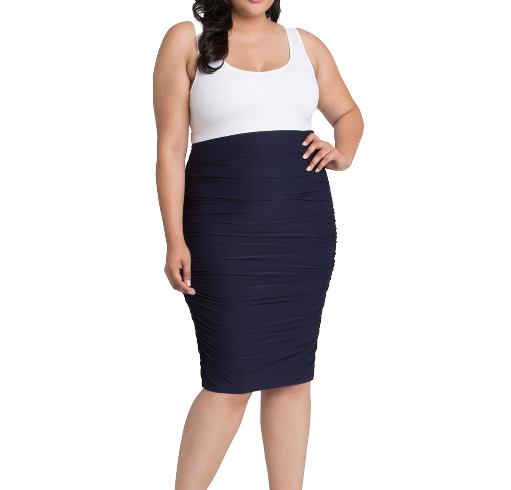 Yieldings Discount Clothing Store's Helena Ruched Skirt by Kiyonna in Navy