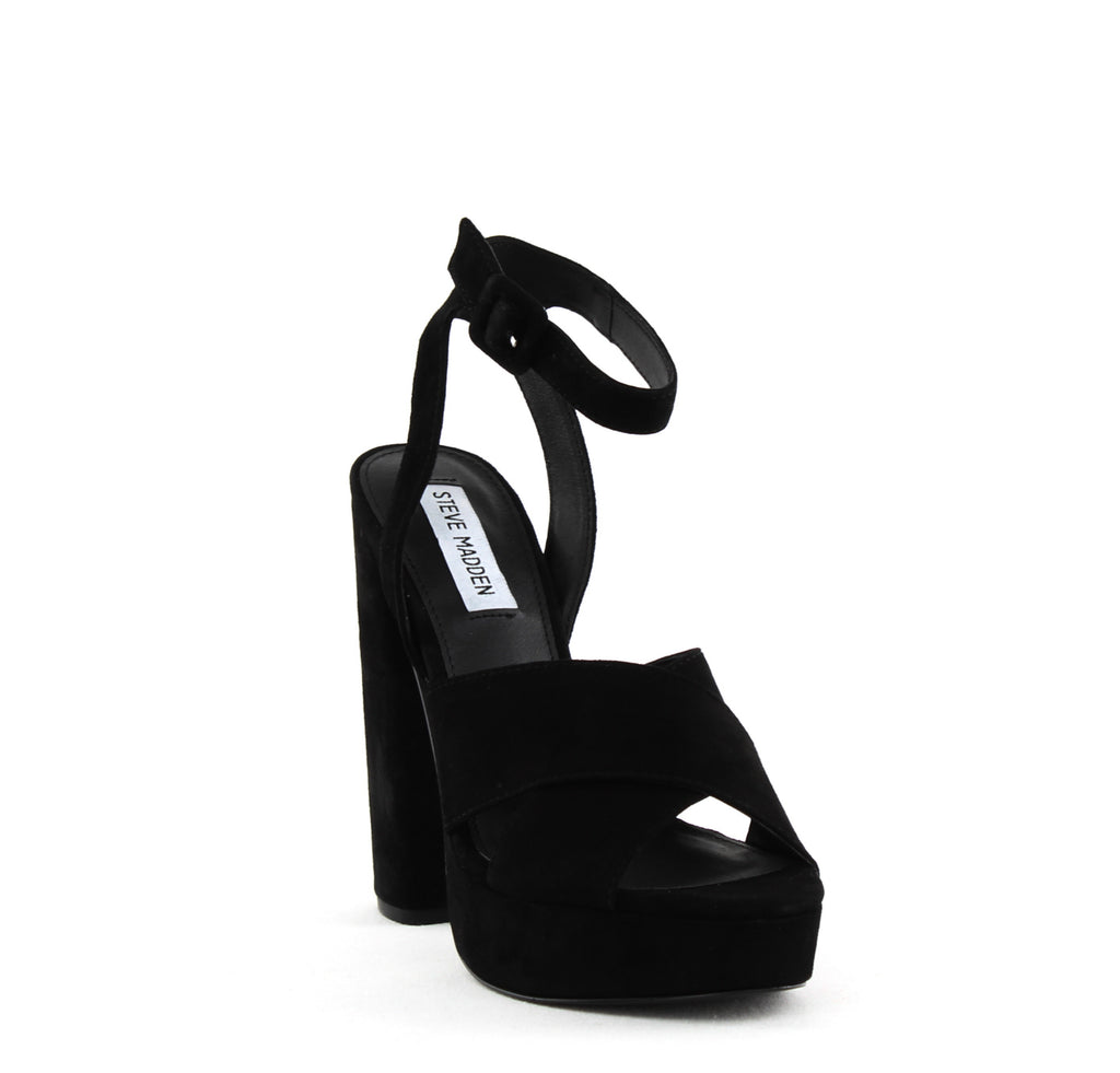 Yieldings Discount Shoes Store's Jodi Two-Piece Platform Sandals by Steve Madden in Black
