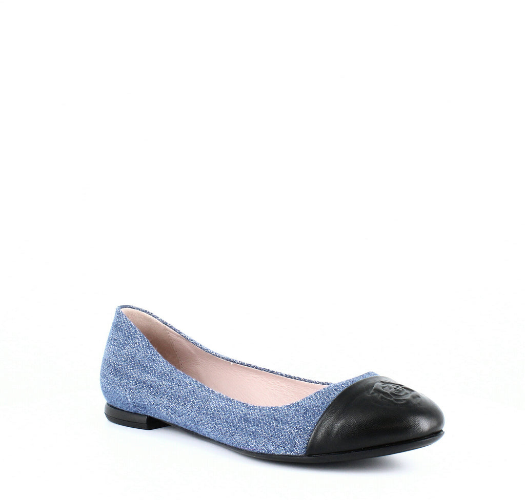 Yieldings Discount Shoes Store's Rosa Ballet Flats by Taryn Rose in Blue Denim/Black
