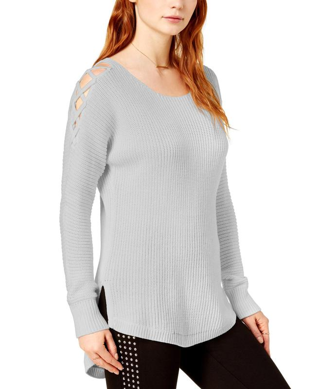 Yieldings Discount Clothing Store's Ribbed Crisscross Cold Shoulder Tunic Sweater by Bar III in Light Heather Grey