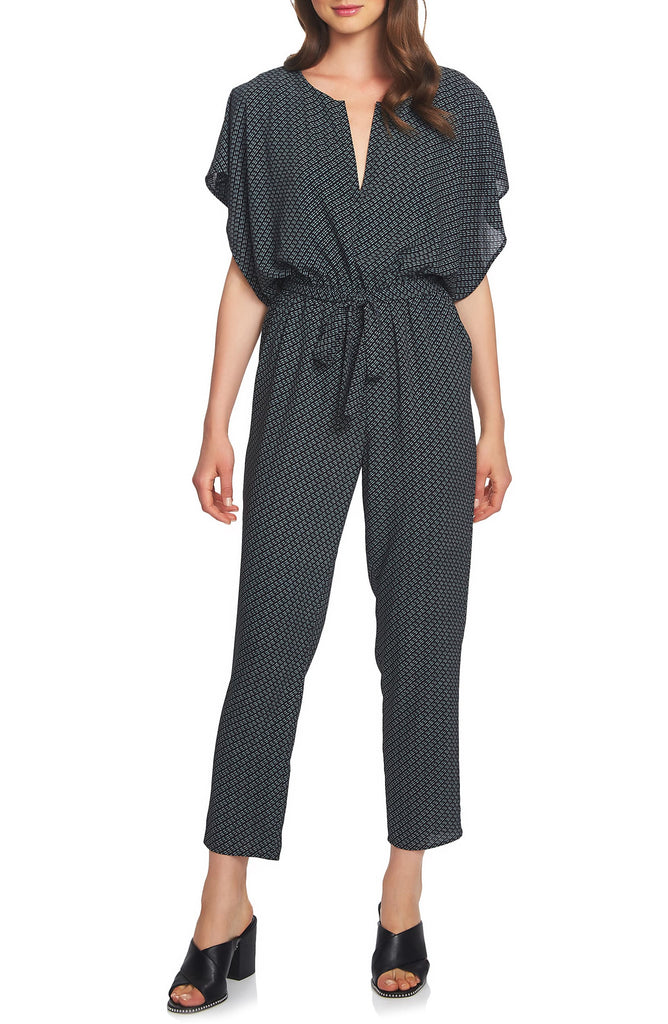 Yieldings Discount Clothing Store's Dash Print Flutter Sleeve Jumpsuit by 1.State in Black/Jade