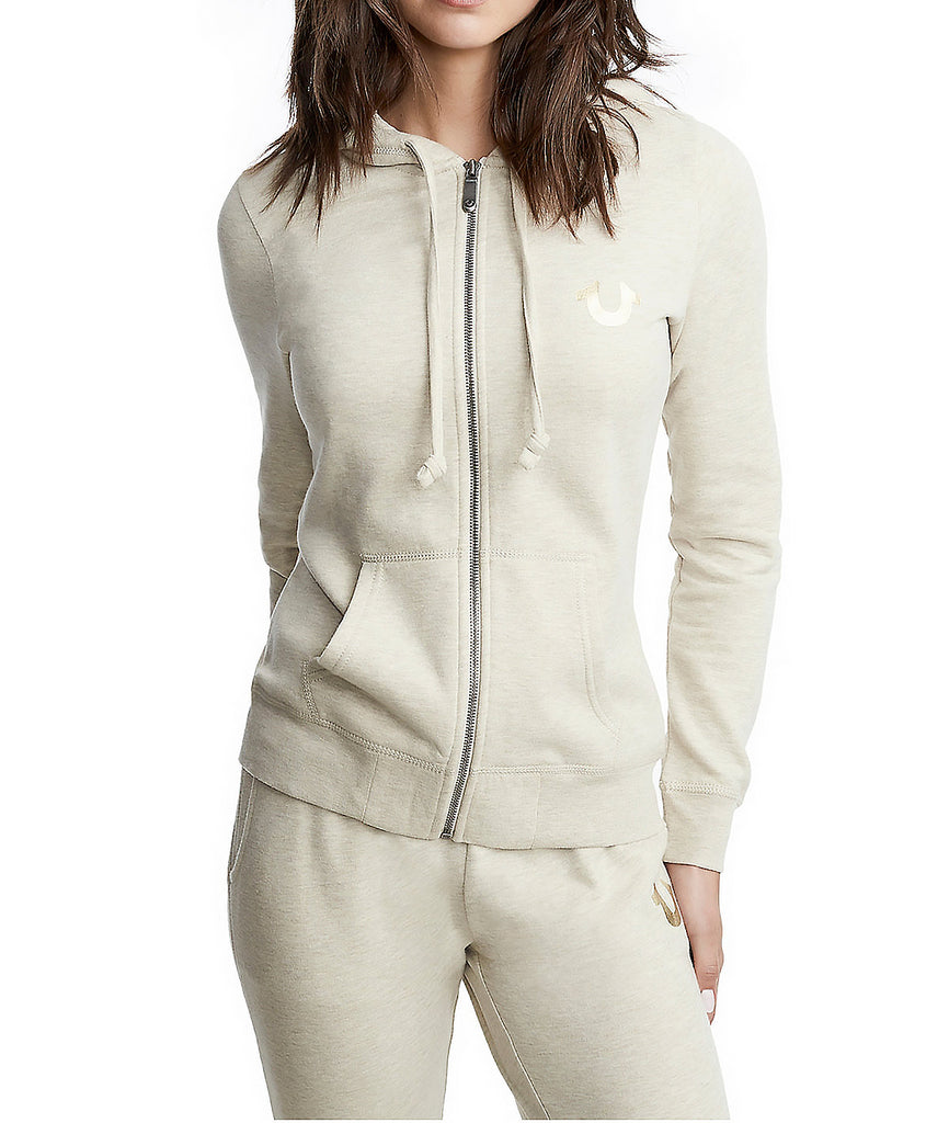 Yieldings Discount Clothing Store's Zip Hoodie by True Religion in Heather Oatmeal