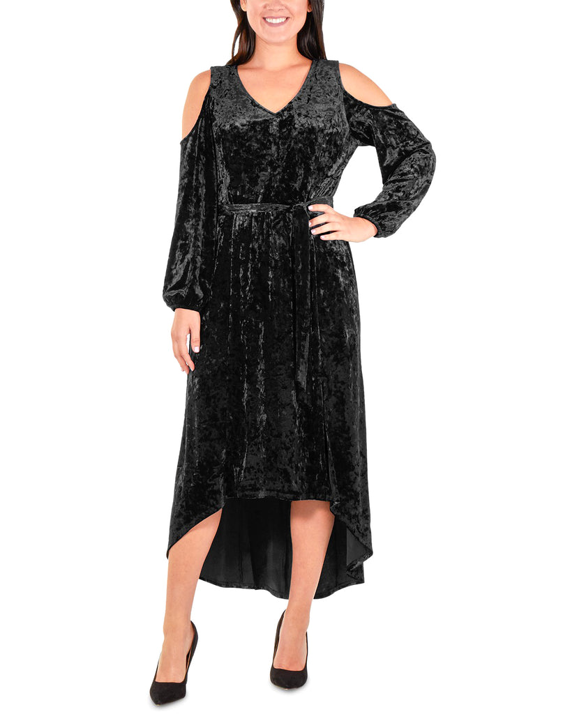 Yieldings Discount Clothing Store's Velvet Cold Shoulder Cocktail Dress by NY Collection Petite in Jet Black