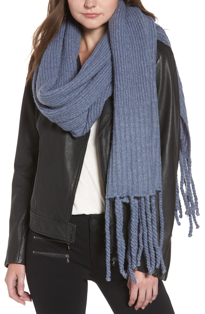 Yieldings Discount Accessories Store's Jaden Ribbed Fringe Blanket Scarf by Free People in Blue