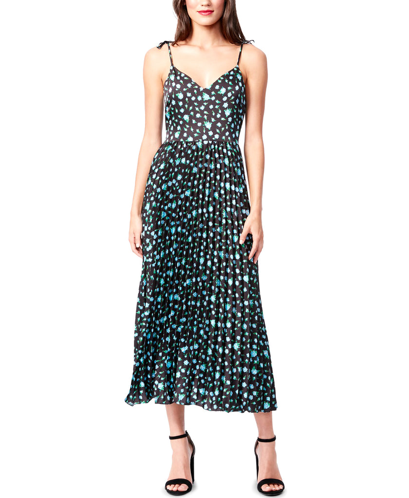 Yieldings Discount Clothing Store's Floral Pleated Midi Dress by Betsey Johnson in Black Multi