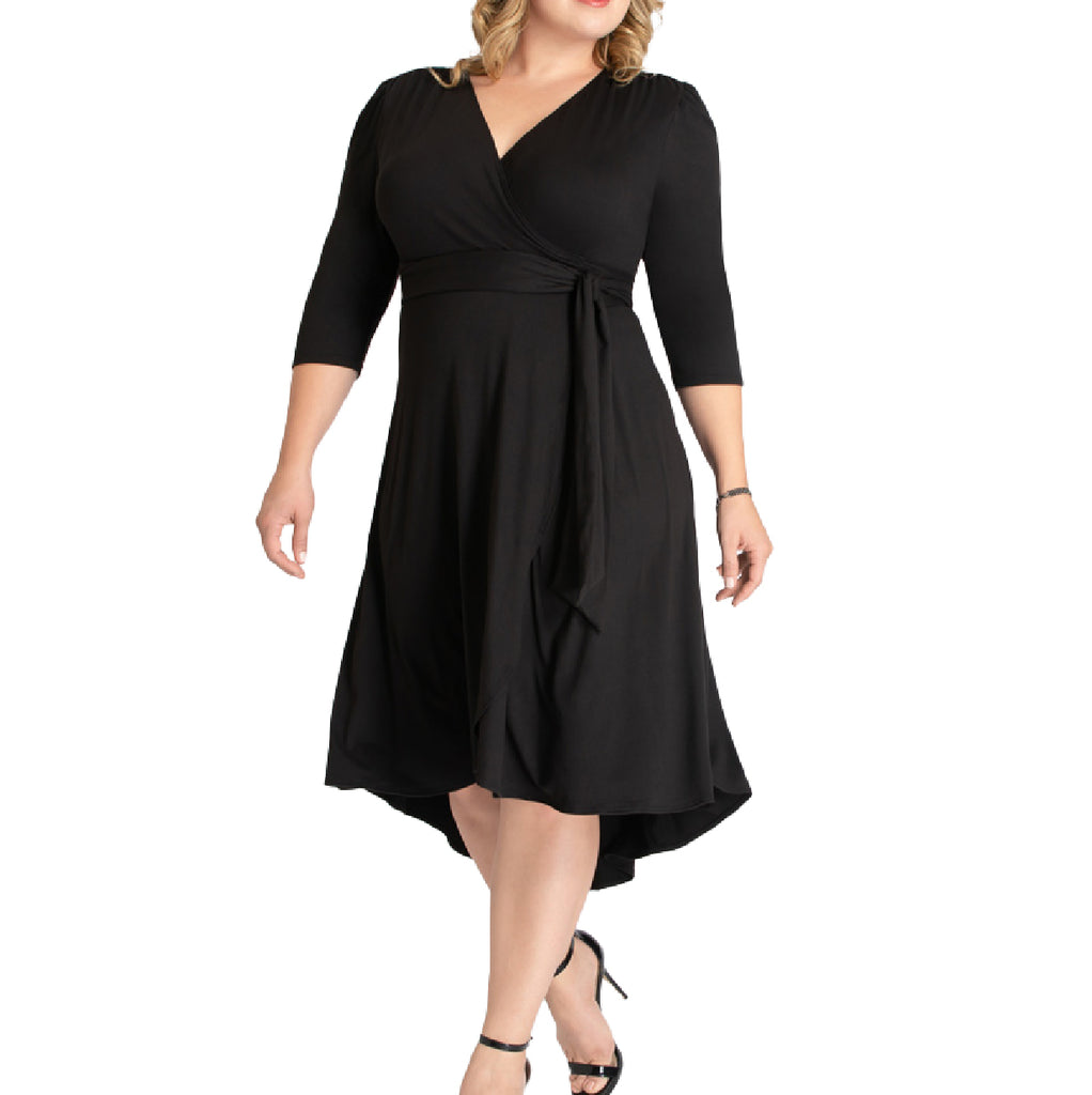 Yieldings Discount Clothing Store's Winona Wrap Dress by Kiyonna in Black