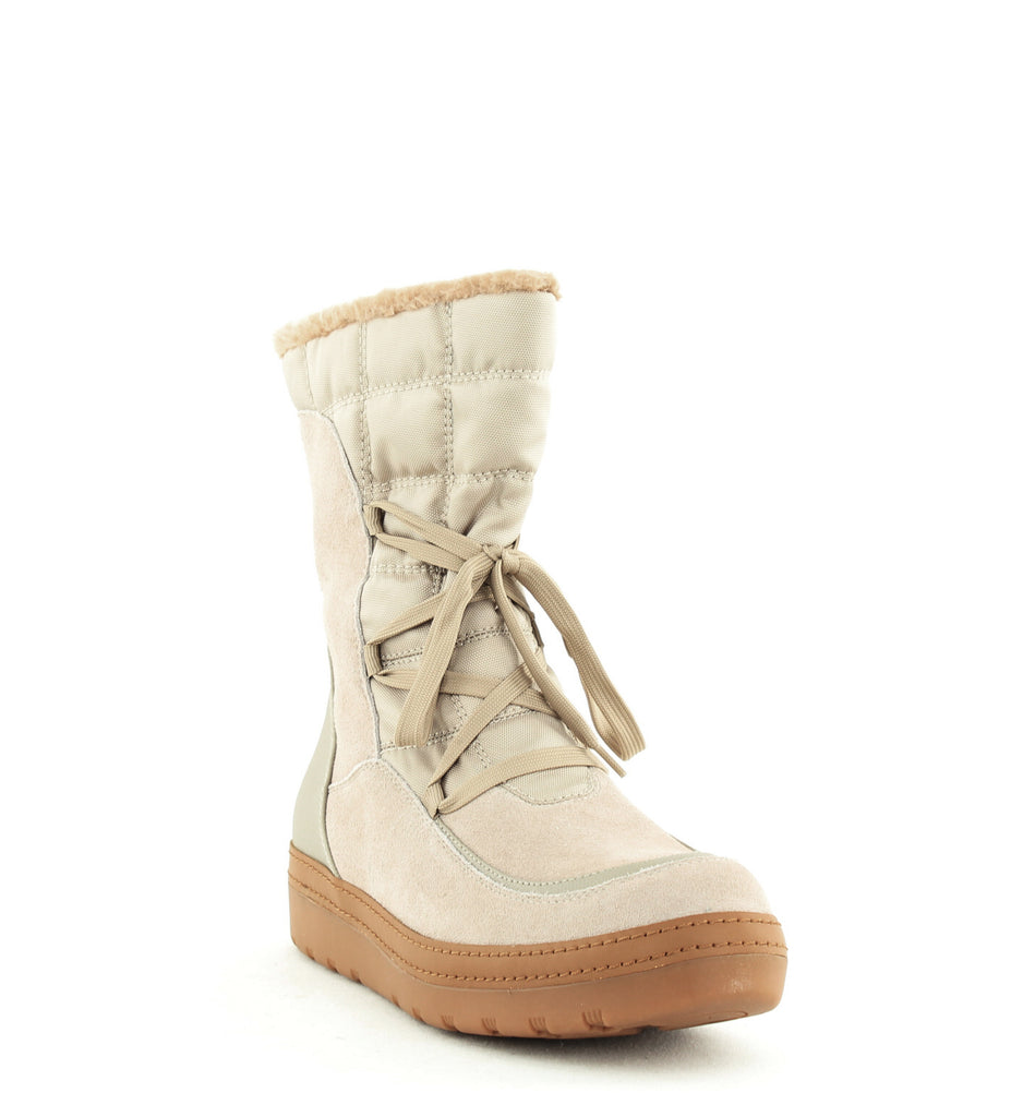 Yieldings Discount Shoes Store's Lancy Lace-Up Cold-Weather Boots by Baretraps in Clay