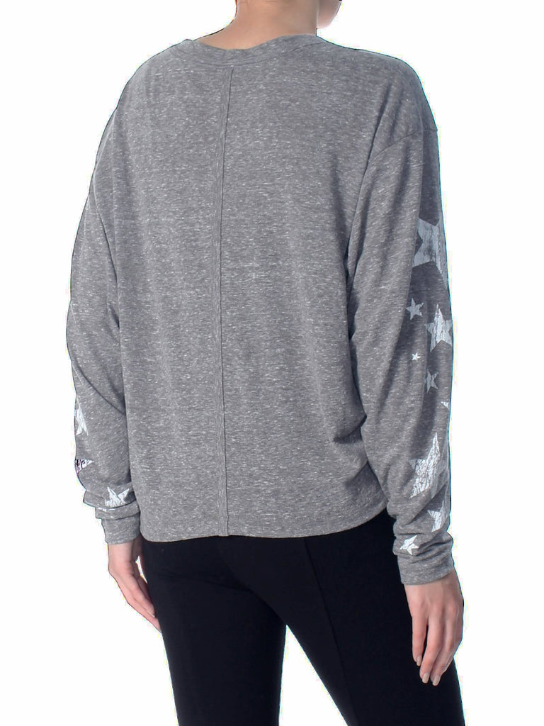 Yieldings Discount Clothing Store's Melrose Star Graphic Long Sleeve T-Shirt by Free People in Heather Grey