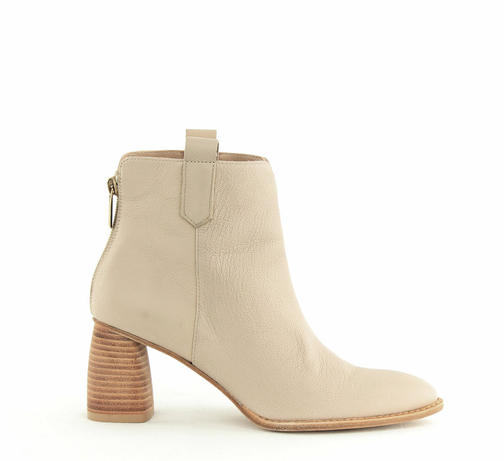Yieldings Discount Shoes Store's Novako Block Heel Booties by Stuart Weitzman in Vanilla Vecchio Nappa