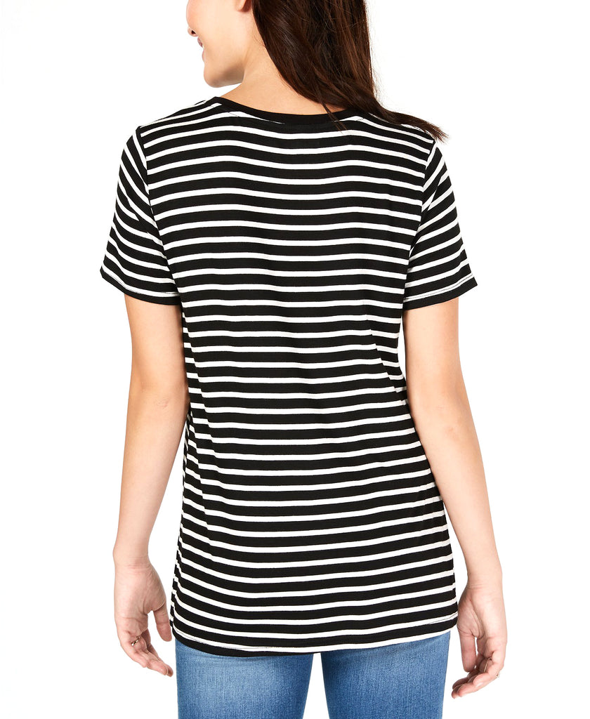 Yieldings Discount Clothing Store's Striped Patch T-Shirt by Carbon Copy in Black/White
