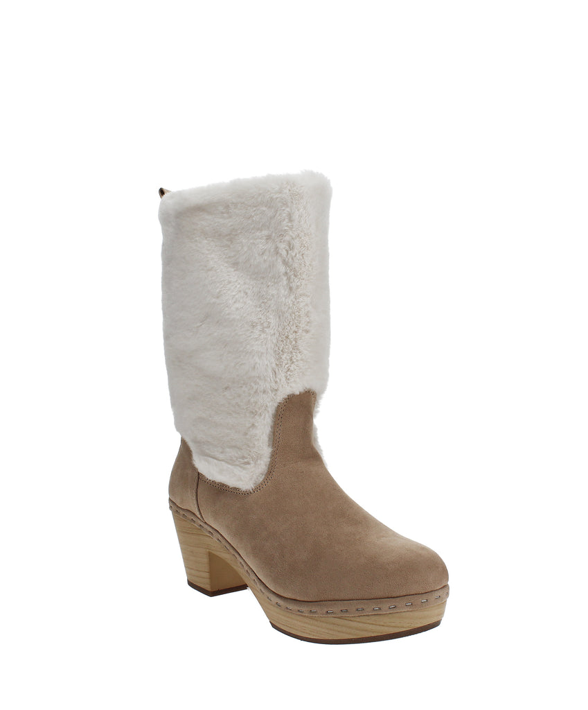 Yieldings Discount Shoes Store's Sanza Faux-Fur Clog Boots by Madden Girl in Sand