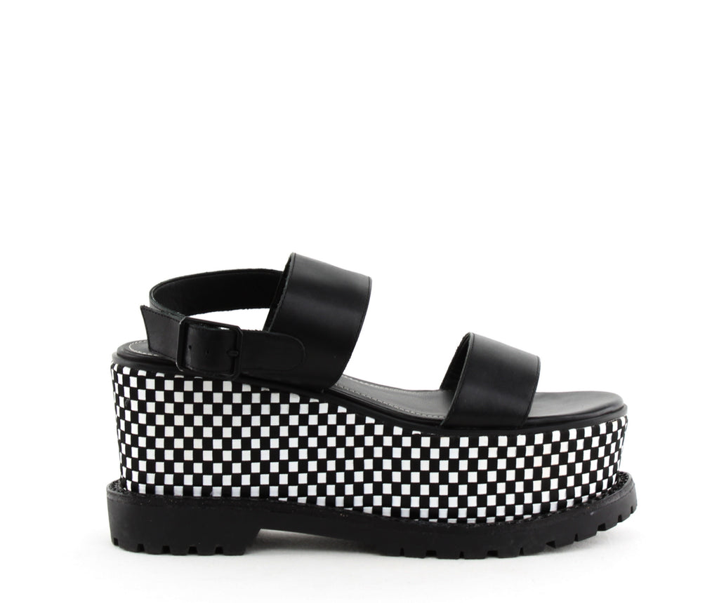 Yieldings Discount Shoes Store's Cady Platform Sandals by Kendall + Kylie in Black Leather