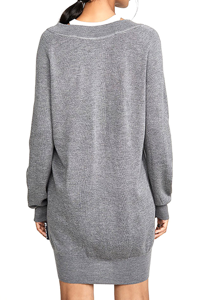 Alexander Wang | Layered-Look Cold-Shoulder Tunic Sweater