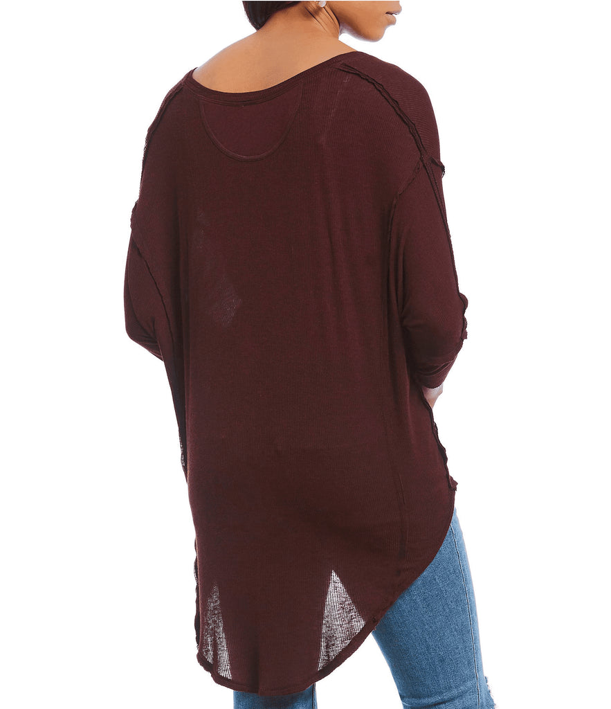 Yieldings Discount Clothing Store's Golden Gate 3/4 Sleeve V-Neck T-Shirt by Free People in Wine