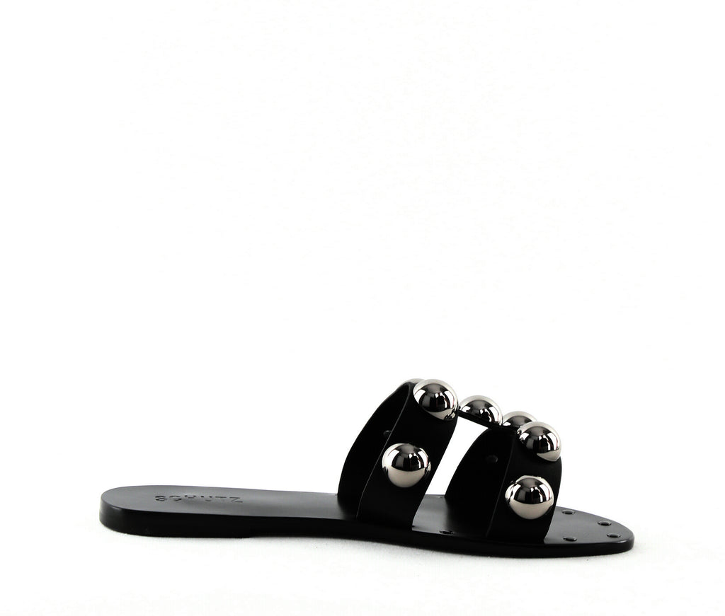 Schutz | Benedita Flat Leather Slide Sandals