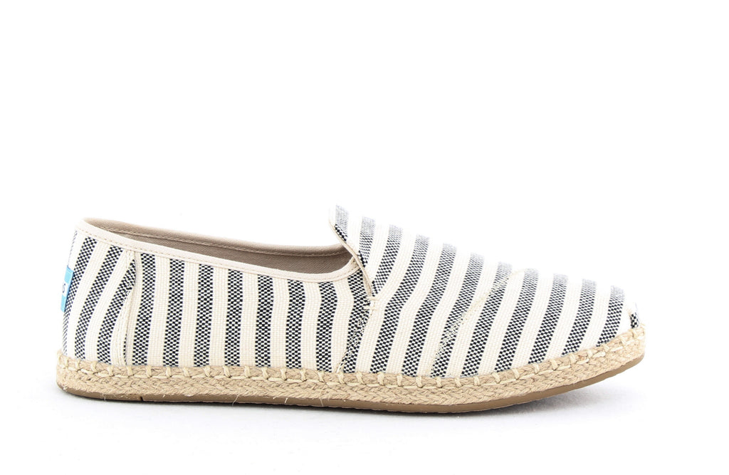 Yieldings Discount Shoes Store's Deconstructed Alpargata Rope Slip Ons by Toms in Black Woven Stripe