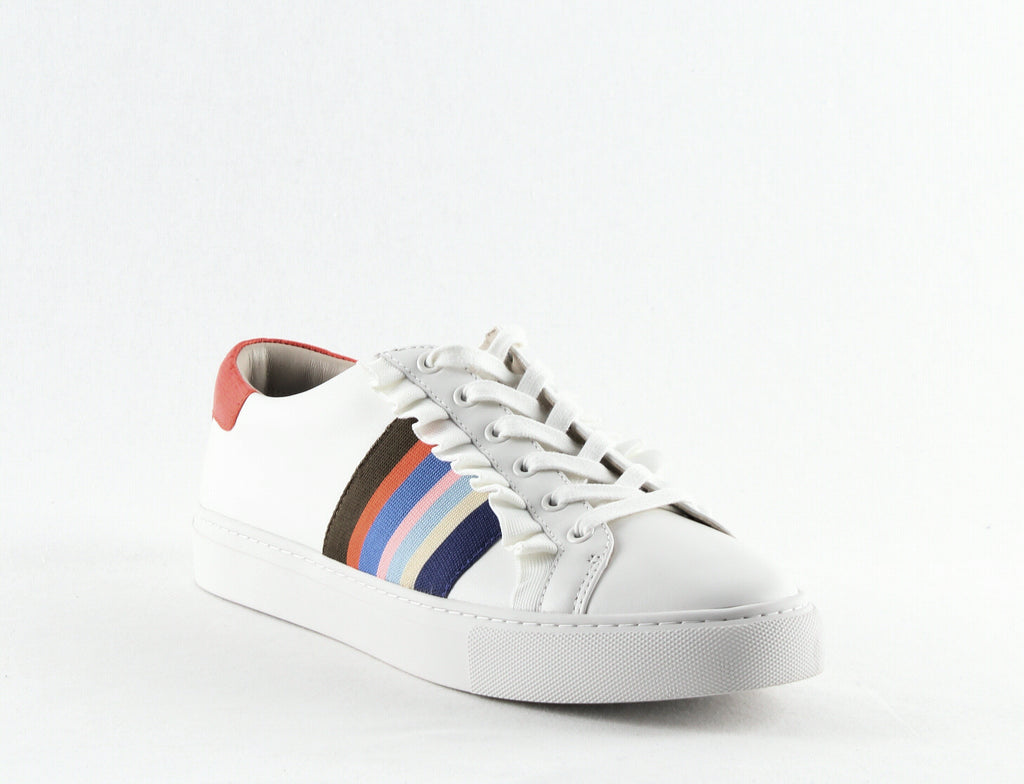 Yieldings Discount Shoes Store's Ruffle Sneakers by Tory Sport in Snow White/Palmetto