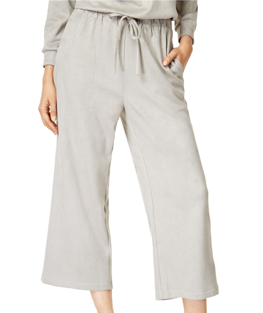 Yieldings Discount Clothing Store's Cropped Faux-Suede Soft Pants by Mink Pink in Light Grey