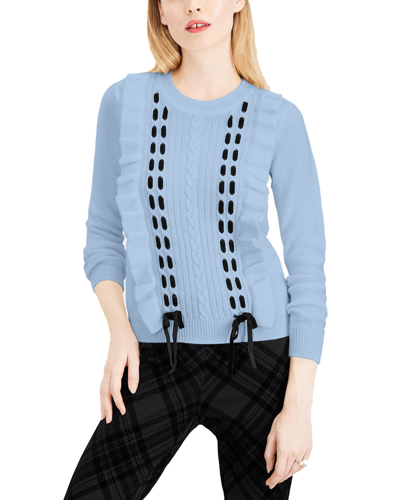 Yieldings Discount Clothing Store's Lace Ruffled Pullover Sweater by Maison Jules in Pastel Blue