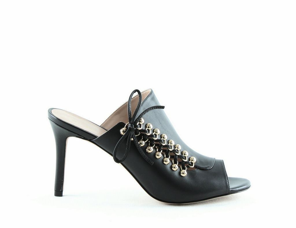 Yieldings Discount Shoes Store's Baxter High-Heel Slide Sandals by Kurt Geiger in Black