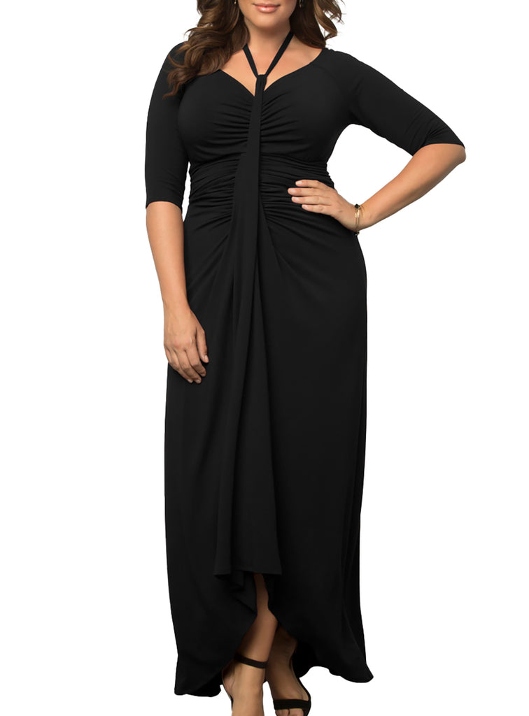 Yieldings Discount Clothing Store's Divine Draped Maxi Dress by Kiyonna in Black