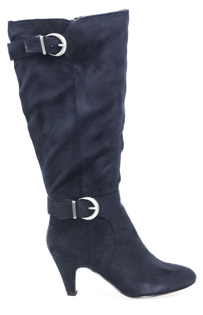 Yieldings Discount Shoes Store's Toni II Plus Wide Calf Heel Boots by Bella Vita in Navy