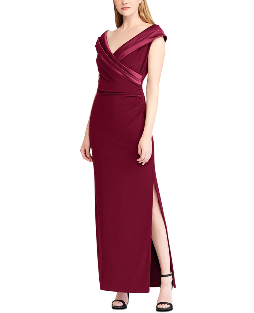 Yieldings Discount Clothing Store's Ruched Gown by Lauren by Ralph Lauren in Berry