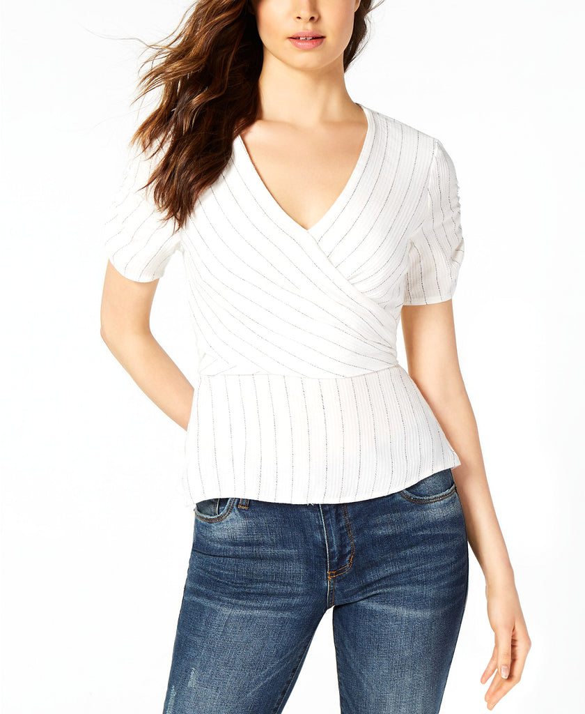 Yieldings Discount Clothing Store's V-Neckline Hits At Hip Ticking Stripe Wrap Top by 1.State in Soft Ecru