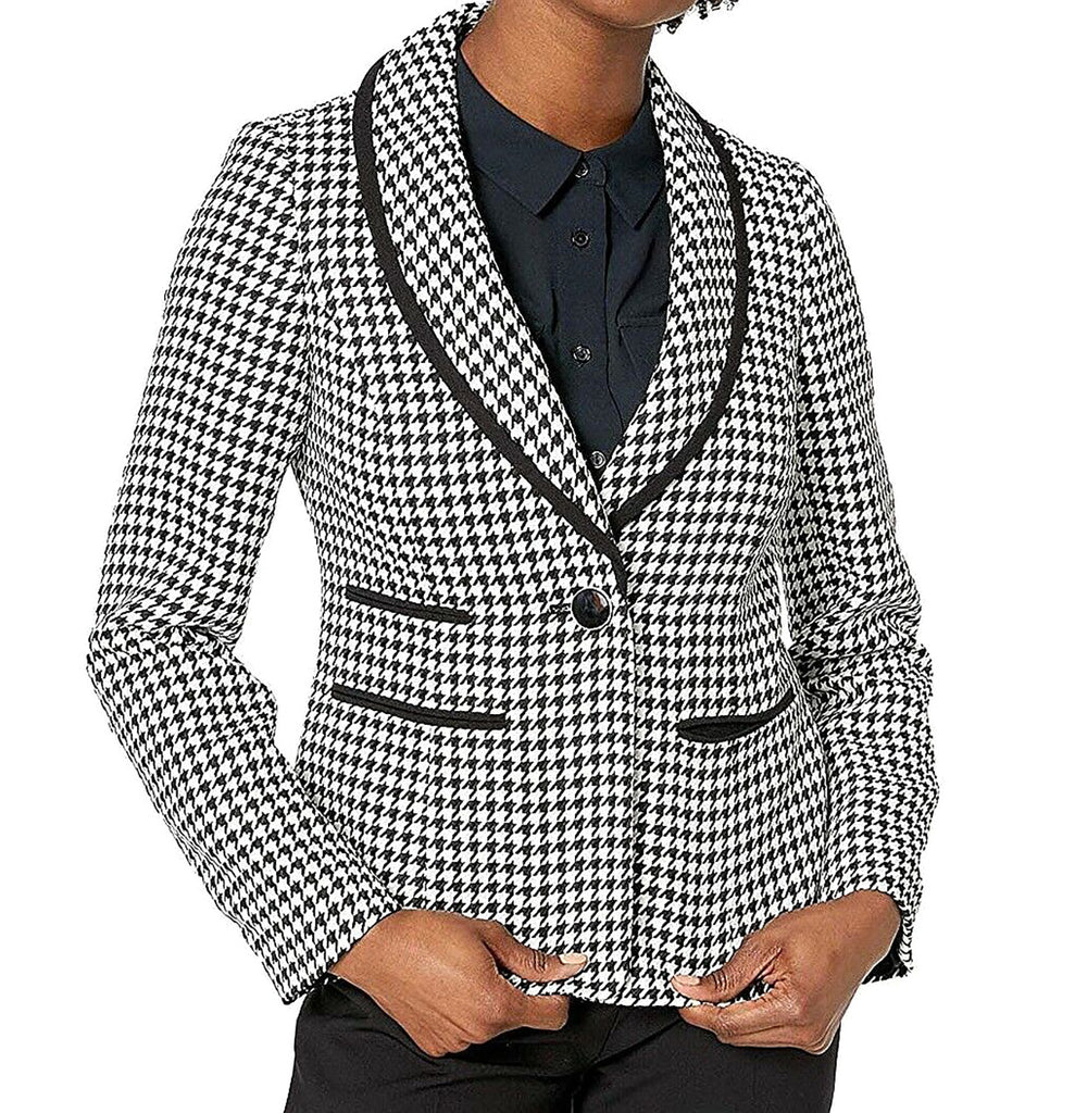 Yieldings Discount Clothing Store's One-Button Houndstooth Blazer by Kasper in Black/Vanilla Ice