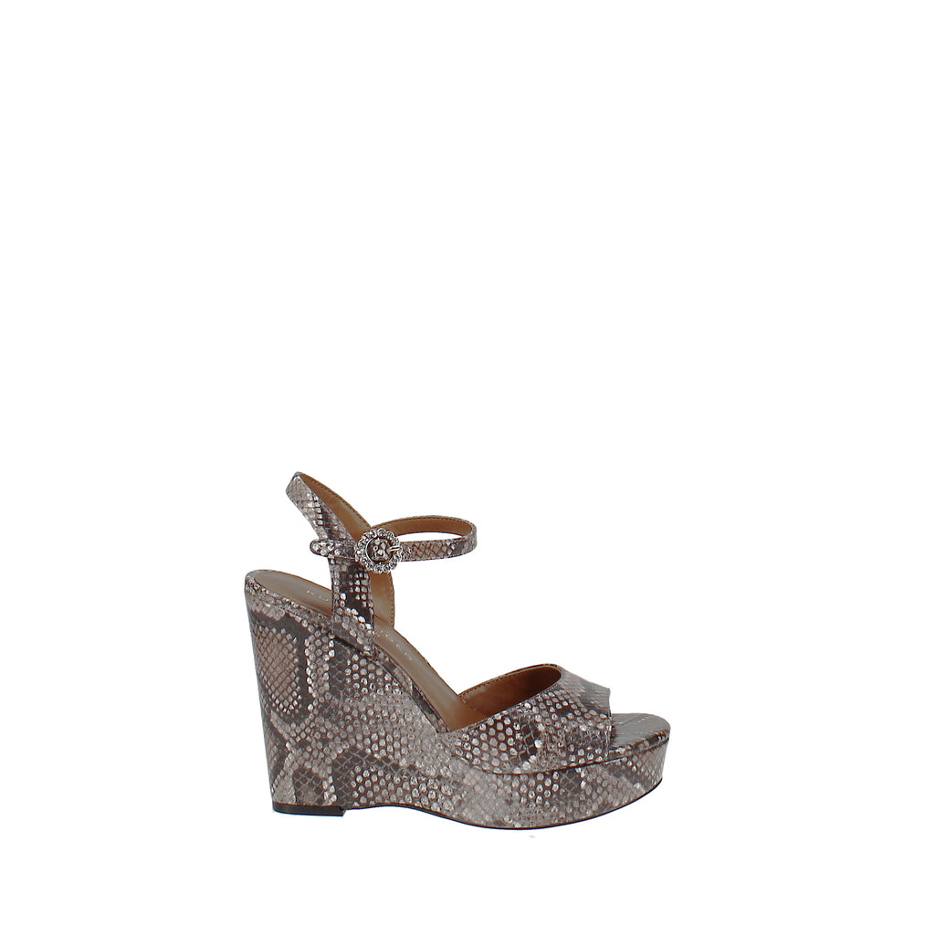 Yieldings Discount Shoes Store's Snake-Embossed Wedge Platform Sandals by Kurt Geiger in Snake Print