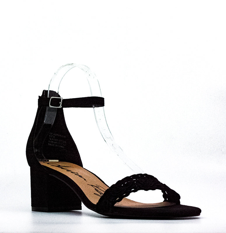 Yieldings Discount Shoes Store's Brexley Microsuede Heel Sandals by American Rag Cie in Black