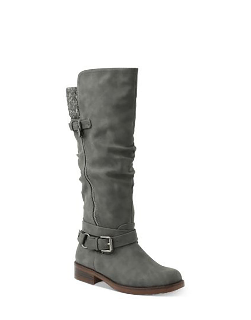 Yieldings Discount Shoes Store's Miles Wide-Calf Tall Riding Boots by XOXO in Grey