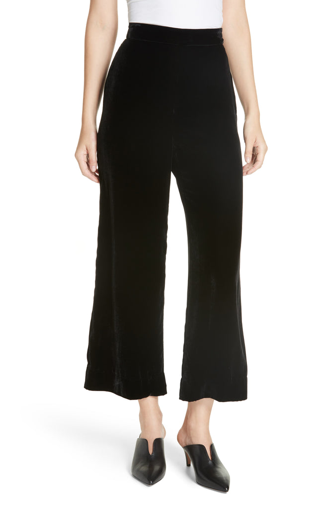 Yieldings Discount Clothing Store's Velvet Silk-Blend Pants by Rebecca Taylor in Black
