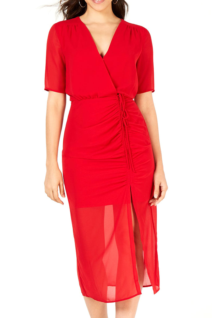 Yieldings Discount Clothing Store's Ruched Midi Dress by Leyden in Red