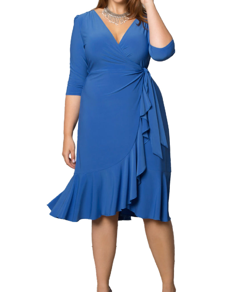 Yieldings Discount Clothing Store's Whimsy Wrap Dress by Kiyonna in Sapphire Blue